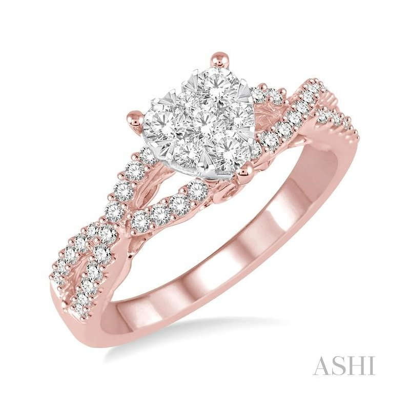 ASHI heart shape lovebright bridal diamond engagement ring