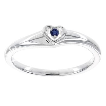 10k White Gold Round Sapphire Heart Promise Ring