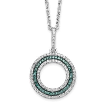 Sterling Silver Rhod Plated Blue and White Diamond Circle Pendant Necklace