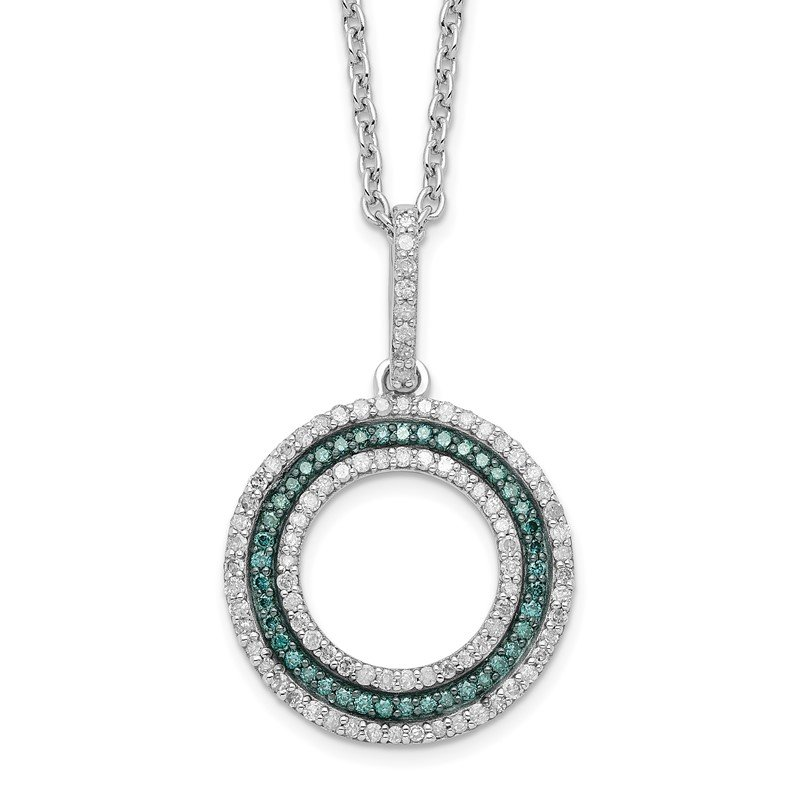 Quality Gold Sterling Silver Rhod Plated Blue and White Diamond Circle Pendant Necklace