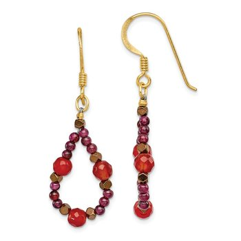 SS Gold-Plated Carnelian/Garnet/Hematite Shepherd Hook Earrings