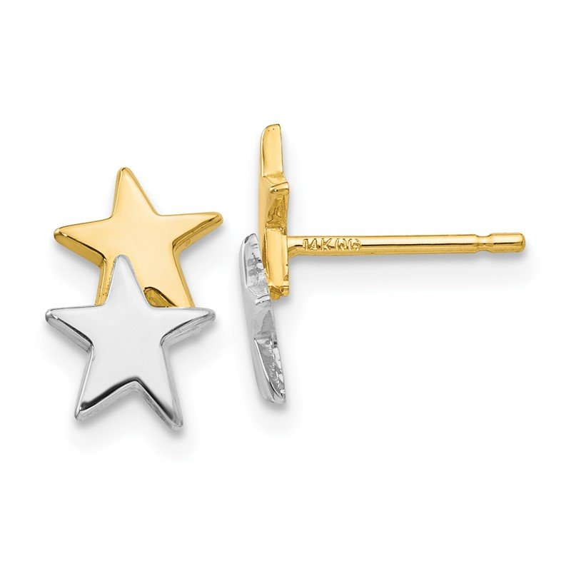 Quality Gold 14k with Rhodium Polished Star Post Earrings