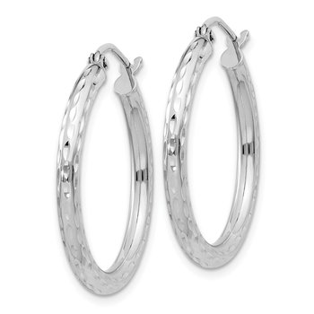 Sterling Silver Rhodium-plated 2.5mm Diamond-cut Hoop Earrings