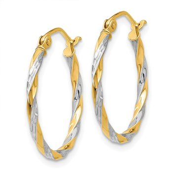 14K & Rhodium Hollow Twisted Hoop Earrings