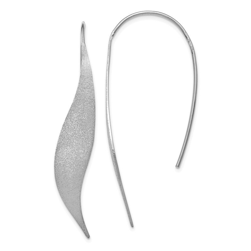 Leslie's Leslie's Sterling Silver Rhodium-plated Polished & Brushed Earrings