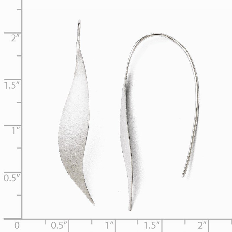 Leslie's Italian Gold Leslie's Sterling Silver Rhodium-plated Polished & Brushed Earrings