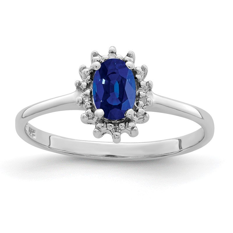 Quality Gold Sterling Silver Rhodium-plated Sapphire Diamond Ring