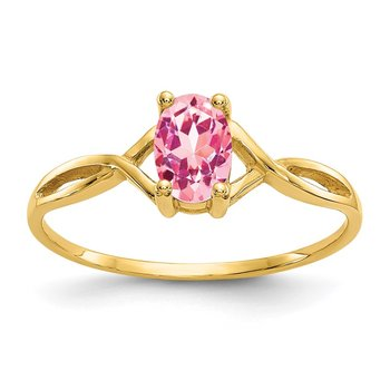 14k Pink Tourmaline Birthstone Ring