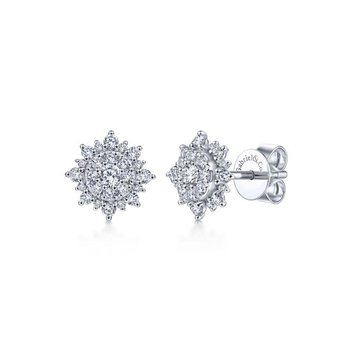 14K White Gold Diamond Sunburst Stud Earrings