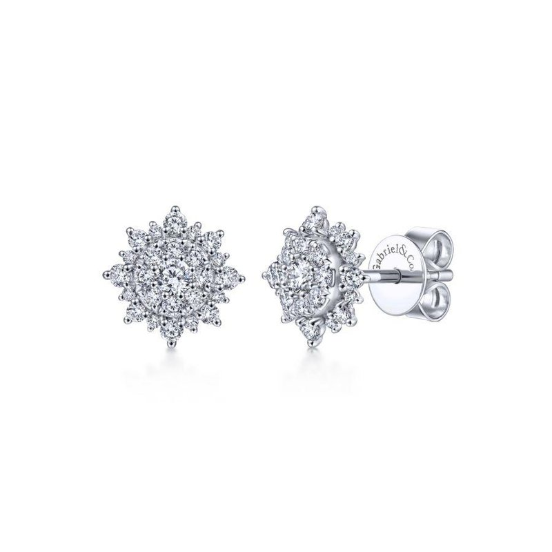 Gabriel  14K White Gold Diamond Sunburst Stud Earrings
