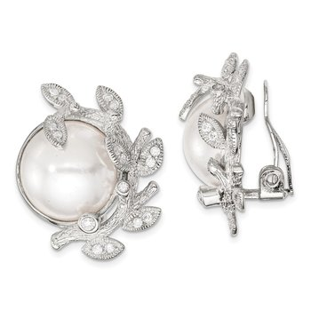 Sterling Silver CZ Simulated Pearl Non-pierced Earrings