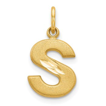 14KY Satin Diamond-cut Letter S Initial Charm