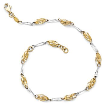 Leslie's 14K Two-tone Polished Fancy Link Anklet