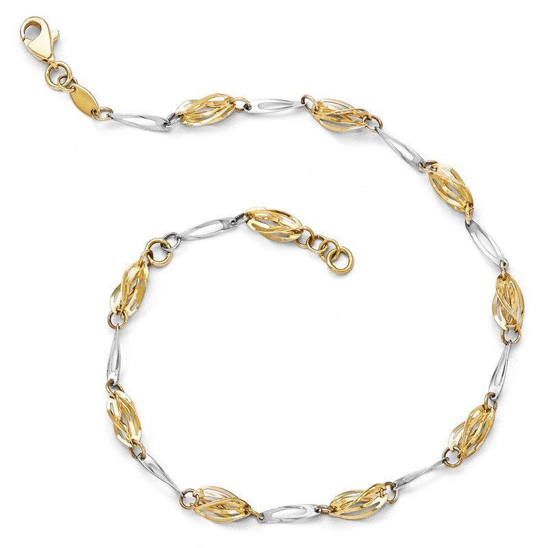 Leslie's Leslie's 14K Two-tone Polished Fancy Link Anklet