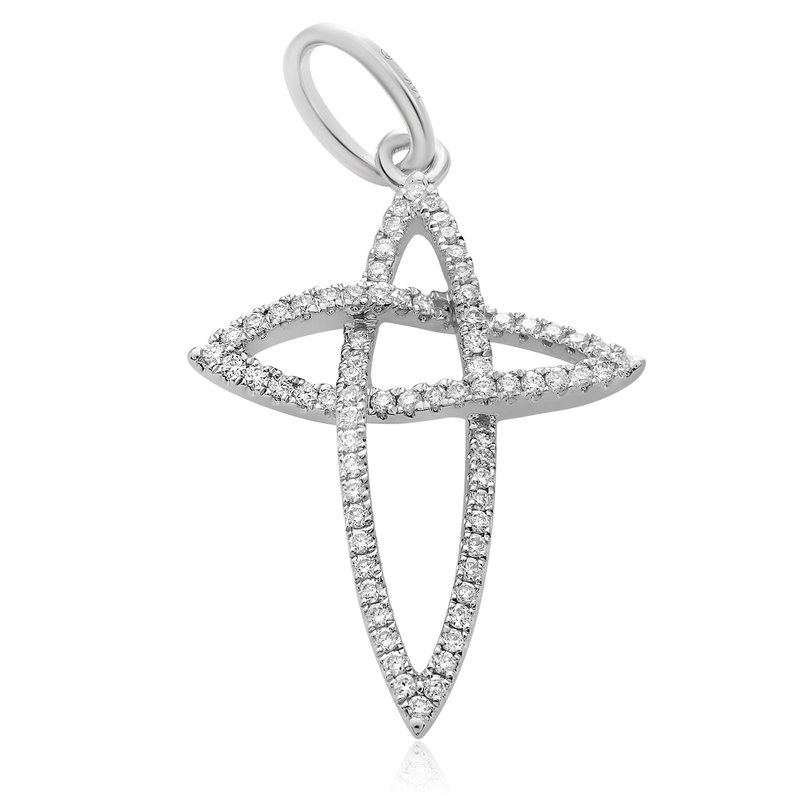 Roman & Jules White Gold & Diamond Cross Pendant