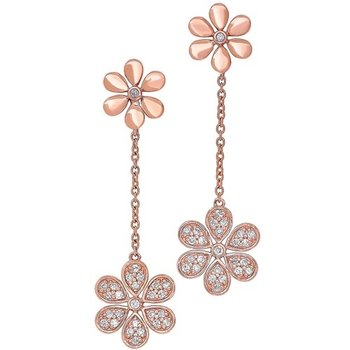 Diamond Double Daisy Flower Dangle Earrings in Gold (¼ ctw)