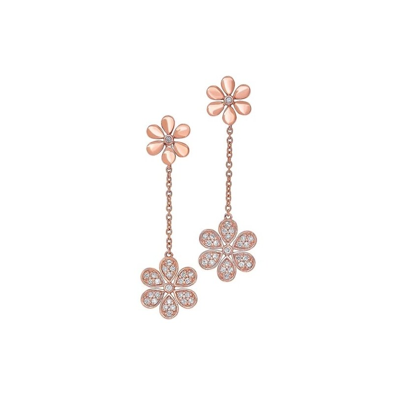 Gems One Diamond Double Daisy Flower Dangle Earrings in Gold (¼ ctw)