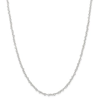 Sterling Silver 3.5mm Fancy Heart Link Chain