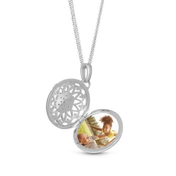 Elaine Locket Necklace Silver