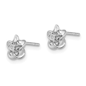 Sterling Silver Rhodium-plated Floral Diamond Post Earrings