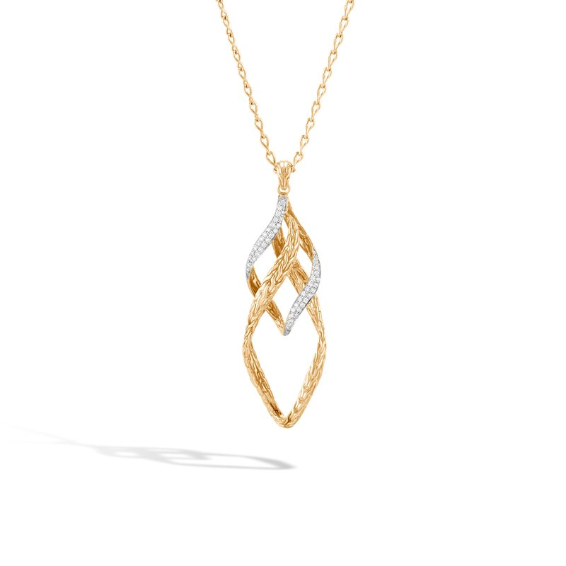 John Hardy Classic Chain Wave Pendant Necklace in 18K Gold,  Diamonds