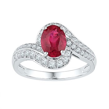 10kt White Gold Womens Oval Lab-Created Ruby Solitaire Ring 2.00 Cttw