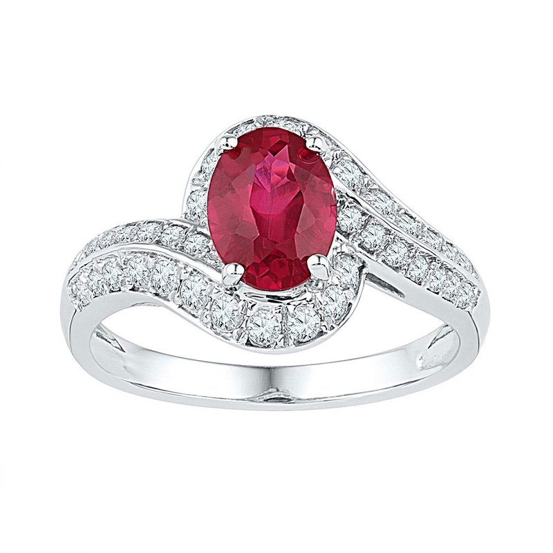 Gold-N-Diamonds, Inc. (Atlanta) 10kt White Gold Womens Oval Lab-Created Ruby Solitaire Ring 2.00 Cttw