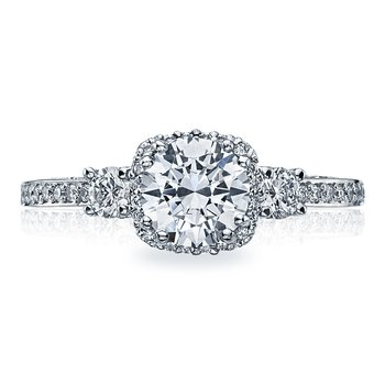 Dantela Round White Gold Engagement Ring