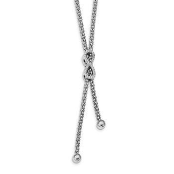 Sterling Silver Rhodium-plated CZ Infinity Dangle 16.75in Necklace