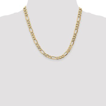 14k 7.3mm Semi-Solid Figaro Chain