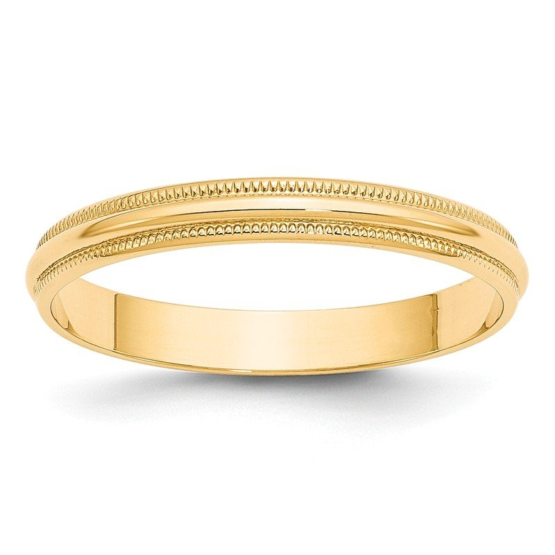 Quality Gold 14KY 3mm LTW Milgrain Half Round Band Size 10