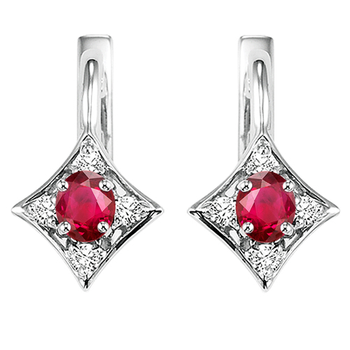 14K White Gold Color Ensembles Prong Ruby Earrings  1/1(2 ct. tw.)