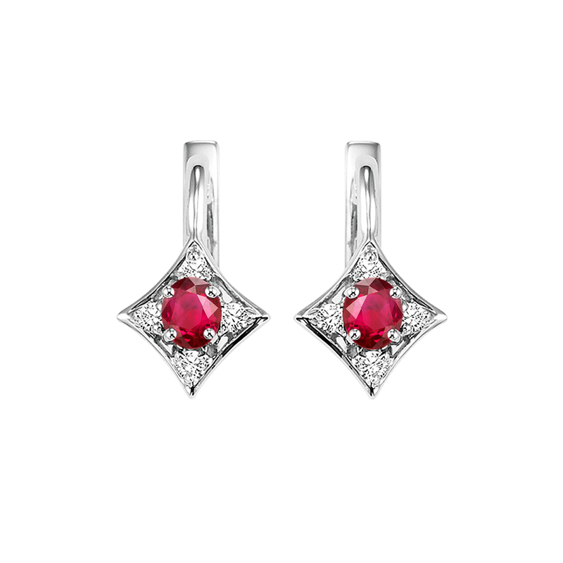 Gems One 14K White Gold Color Ensembles Prong Ruby Earrings  1/1(2 ct. tw.)