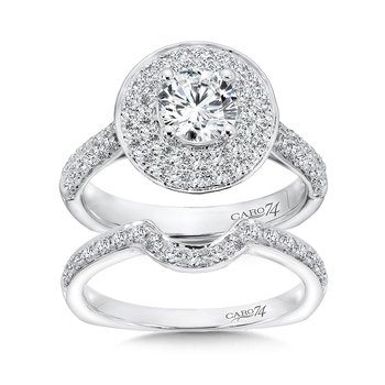 Round Double Halo Engagement Ring with Side Stones in 14K White Gold (3/4ct. tw.)