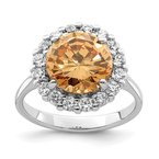 Quality Gold Sterling Silver Rhodium-plated Champagne & Clear Color CZ Ring