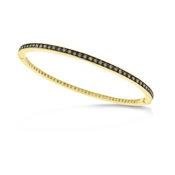 Champagne Diamond Hinged Eternity Bangle in 14k Yellow Gold with 83 Diamonds weighing 1.55ct tw
