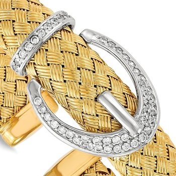 Leslie's Sterling Silver Gold-tone CZ Woven Flexible Cuff Bangle
