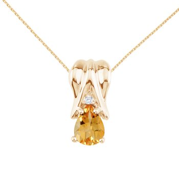 14k Yellow Gold Citrine and Diamond Pear Shaped Pendant
