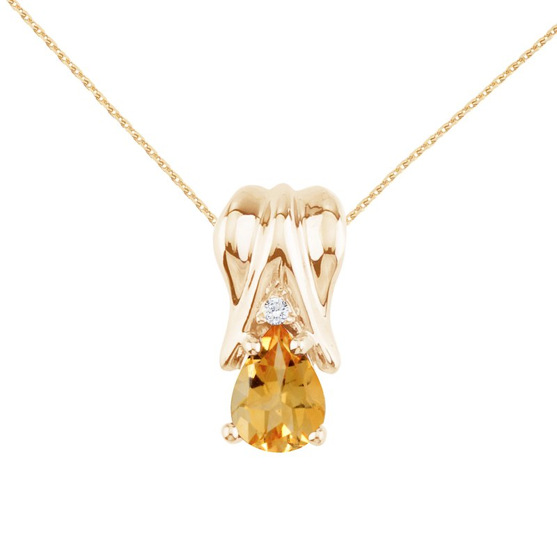 Color Merchants 14k Yellow Gold Citrine and Diamond Pear Shaped Pendant