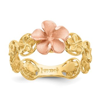 14k Yellow & Rose Gold Diamond-cut Plumeria Flower Ring
