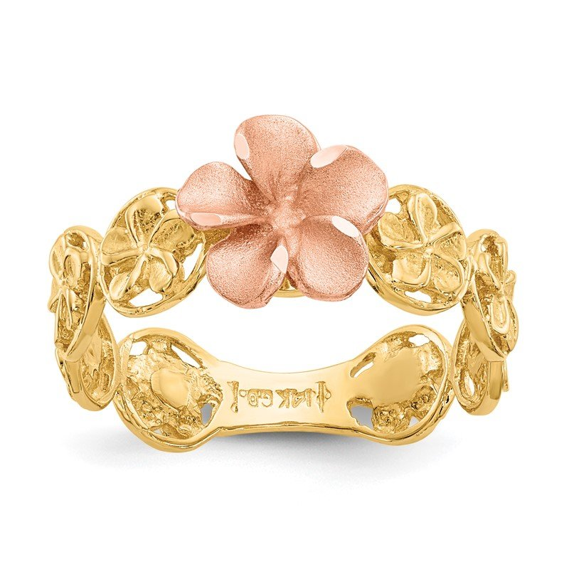 Quality Gold 14k Yellow & Rose Gold Diamond-cut Plumeria Flower Ring