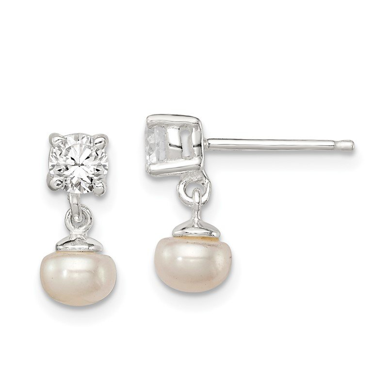 Arizona Diamond Center Collection Sterling Silver FW Cultured Pearl with 4mm CZ Post Earrings