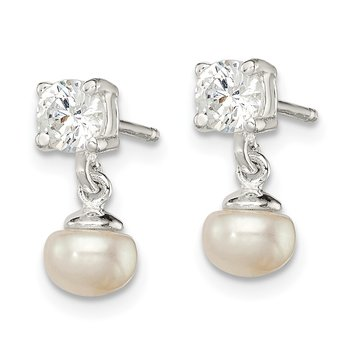 Sterling Silver FW Cultured Pearl with 4mm CZ Post Earrings