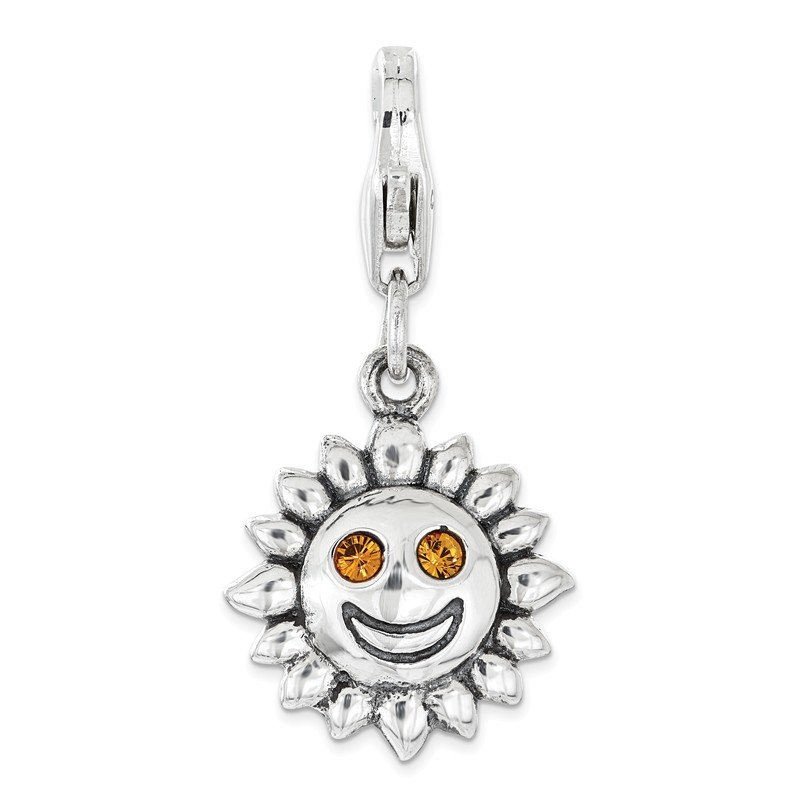 Quality Gold Sterling Silver RH Yellow Swarovski Sun with Lobster Clasp Charm