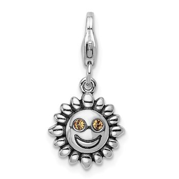 Sterling Silver RH Yellow Swarovski Sun with Lobster Clasp Charm