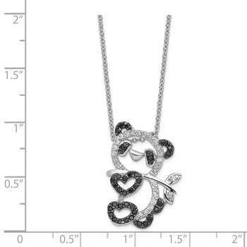 Cheryl M Sterling Silver CZ Panda Teddy Bear 18in Necklace