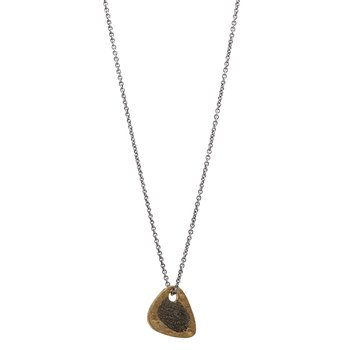 Brass Guitar Pick Pendant Necklace with Silver Chain