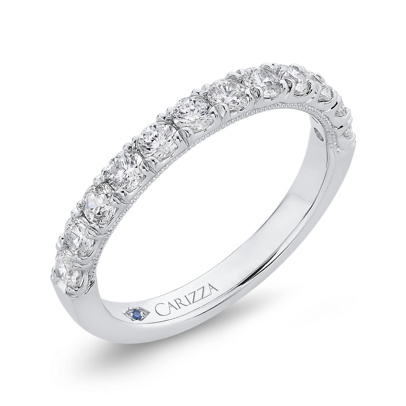 Carizza Half-Eternity Round Diamond Wedding Band In 14K White Gold