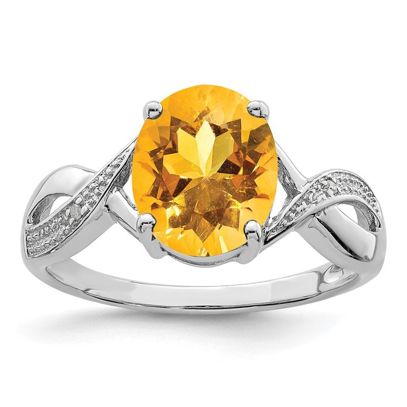 Quality Gold Sterling Silver Rhodium Citrine & Diamond Ring