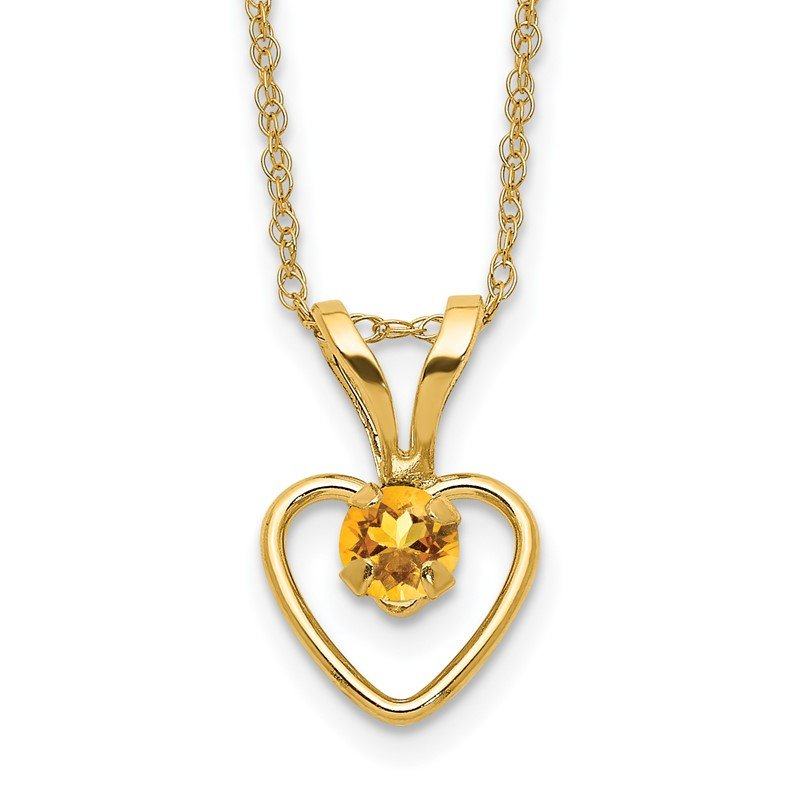 Quality Gold 14k Madi K 3mm Citrine Heart Birthstone Necklace
